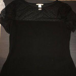 Polka dot mesh detail blouse